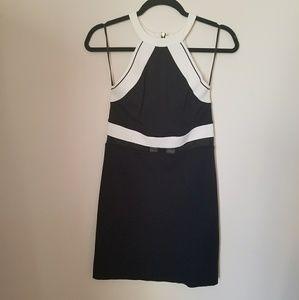 Black + White Halter Bodycon Dress
